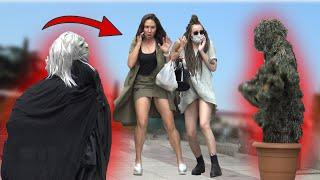 SCARY HALLOWEEN GHOST and BUSHMAN  PRANK AWESOME REACTIONS