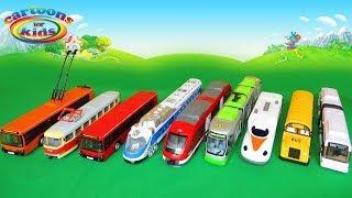 Троллейбус и Трамвай Автобус и Поезд Городской транспорт - игрушки машинки. Мультики для детей