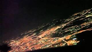 Посадка в ночной Москве Вид из кабины пилота