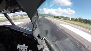 Взлёт Boeing 737 с острова Сен-Мартен  (вид из кабины пилотов)