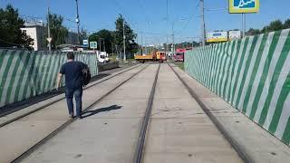 Вид из кабины трамвая. Москва,6-той маршрут