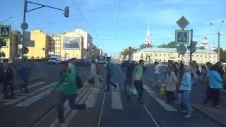 СПб. Лиговский проспект из кабины трамвая