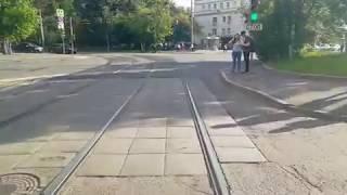Москва. Вид из кабины трамвая. маршрут 50.
