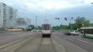 Вид из кабины трамвая Москва 21 й маршрут