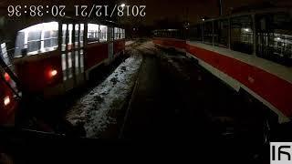 Выезд из Дарницкого депо, вид из кабины водителя трамвая.