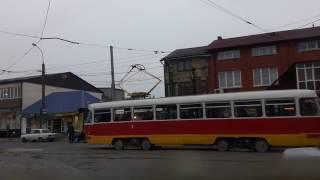 Владикавказский трамвай, вид из кабины, маршрут 2 / Russian tram, cab view