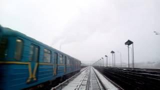 Киевское метро- вид из кабины машиниста поезда, Kiev Metro: cab view