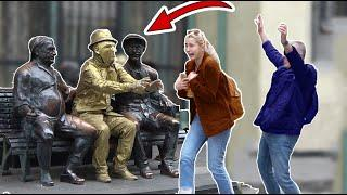 HUMAN STATUE SCARY PRANK Amazing Living Human Statue