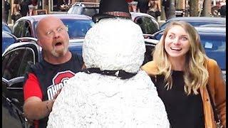 Scary Snowman Prank US Tour 2018 - Over 100 Reactions! Испуги людей