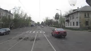 Вид из кабины трамвая, Ангарск, 5-тый маршрут.