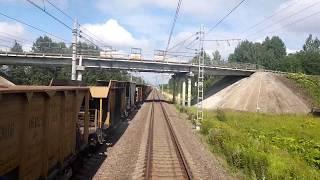 Догоняем и обгоняем, глазами машиниста, вид из кабины поезда, обгон грузового поезда