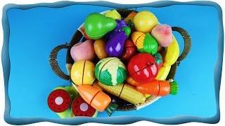 Учим фрукты и овощи Режем фрукты и овощи на липучках Обучающее видео для детей