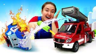 Веселая Школа— Развивающее видео для детейпро пожар — АВТОМАСТЕРСКАЯ, МОЙКА имашинки для малышей