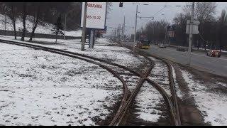 Киев. Трамвай 5 (вид с кабины) 2010-2011 год/Kiev. Tram 5 (view cab)