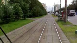 Московский трамвай, вид из кабины.