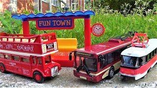 городской транспорт троллейбус автобус трамвай игрушки для мальчиков видео для детей