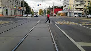 Москва. Вид из кабины трамвая. маршрут 12.