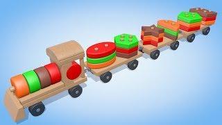 Развивающие мультики. Геометрические фигуры для детей от 6 месяцев.Учим Цвета и Формы.Паровозик Олли
