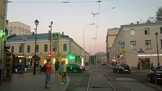Москва. Чистопрудный бульвар, вид из кабины трамвая.
