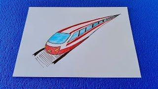 Как просто нарисовать Скоростной поезд.Простые рисунки для школы.Рисунки карандашами!